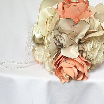 wedding flower ball, bridal bouquet fabric bouquet flowers bouquet Ivory and pink bouquet, bridesmade bouquet wedding accessories, flowers
