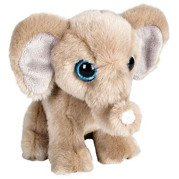 7 Inch Big Eyed Stuffed Elephant Plush Posed Animal Kingdom Collection