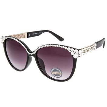Kacei Swarovski Crystal Embellished Black Sunglasses