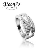 925 Sterling Silver Rings For Women Rhinestone Ring Platinum  CZDiamond Fashion Promise Ring  Band Double Cross Trendy Ring R225