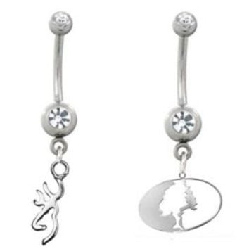 Licensed Browning Charm Belly Button Ring & Mossy Oak Belly Ring Set