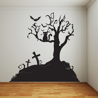 Vinyl Wall Decal Sticker Halloween Tree #1014