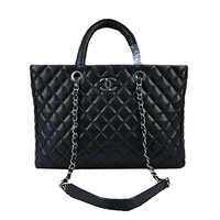 Braun Chanel black caviar leather handbag