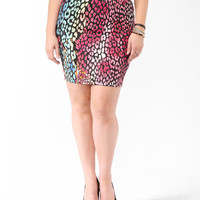 Colored Leopard Bodycon Skirt