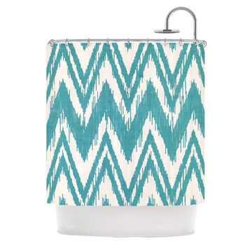 "Heidi Jennings ""Tribal Chevron Aqua"" Shower Curtain"