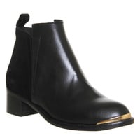 Office Concept Mid Heel Ankle Boot Black Leather Suede - Ankle Boots