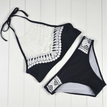 Fashion black high neck knit hollow halter two piece bikini