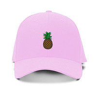 PINEAPPLE Embroidery Embroidered Adjustable Hat Baseball Cap Soft Pink
