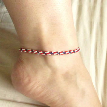 Beaded Anklet, Red White and Blue, Beaded Ankle Bracelet, Beach Anklet, Fourth of July, Independance Day, Americana, Patriotic Jewelry