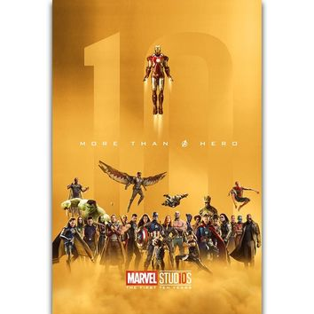 S1473 The Marvel Studios The First Ten Years Avengers Movie Wall Art Painting Print On Silk Canvas Poster Home Decoration