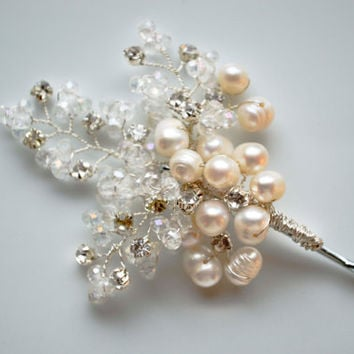 Hair pin, Crystal Hair Piece. Evening hair Accessories. Bridal Hair vines. Bobby pins.