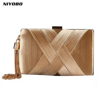 2017 women clutch bag female silk envelope purse evening clutch bag designer Luxury Party Gold Wedding Clutches Bags