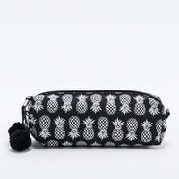 Ecote Pineapple Print Pencil Case in Black - Urban Outfitters