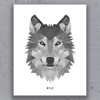 Wolf Print Printable Typography Poster Geometric Print Black White Wildlife Animal Art Retro Art Print Instant Download Digital Print