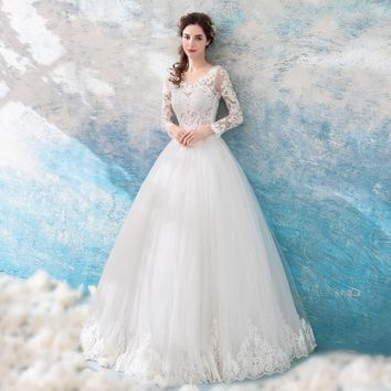 Embroidery Wedding Dresses White Full Sleeves O-neck Princess Wedding Dress Bride Ball Gowns Lace up