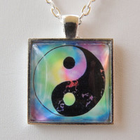 Ying and Yang Necklace, Pendant Necklace, Art Print Necklace. A238