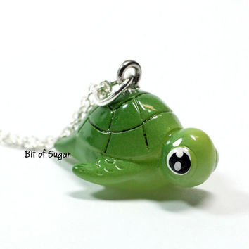Cute miniature sea turtle necklace - Small beach animal charm - kawaii green honu tortoise