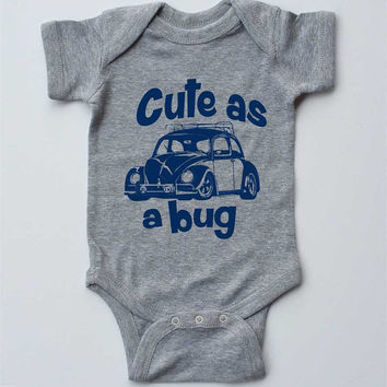 "Baby Onesuit-""Cute as a Bug""VW Beetle-Baby Boy Outfit-Grey Boy Onesuit bodysuit-Baby gift"