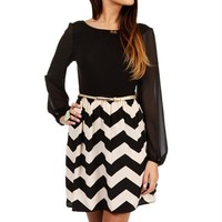 Taupe/Black Chevron Tunic w/ Belt