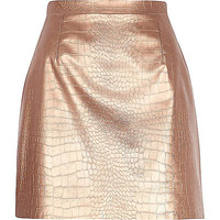 River Island Womens Bronze snake print raw hem leather-look skirt