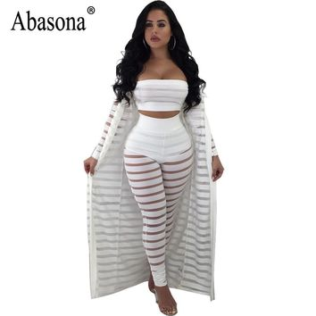 Abasona Sexy Jumpsuit Women Strapless Overalls Autumn Long Sleeve Jumpsuits Rompers Black Party Sheer Mesh Pant 3 Piece Set