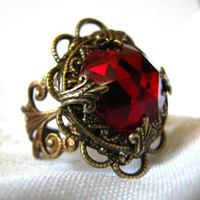 Queen of Hearts - Victorian Glass Ruby Filigree Ring