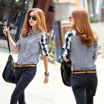 Women Lady Retro vintage Long Sleeve Casual Graids Jean Denim Shirt Tops Blouse