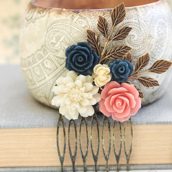 Flower Hair Comb Coral Pink Navy Blue Rose Comb Ivory Cream Chrysanthemum Wedding Hair Accessories Bridesmaids Gifts Made of Honor Hair Comb