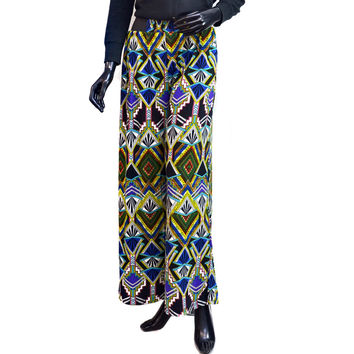 Aztec Print Palazzo Pants with Elastic Waist Color: Multicolored
