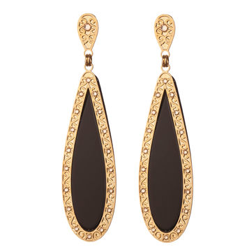 Splendid Black and Gold Drop Earrings by LK Designs