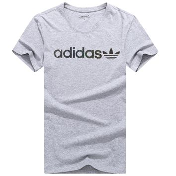 ADIDAS 2018 summer new breathable casual sports t-shirt Grey