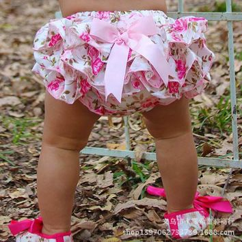 Free shipping 0-3 years old baby PPpantsChildren Leopard bow Multicolor optional Bloomers Baby shorts