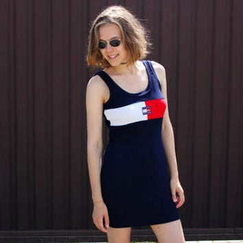 90's Tommy Hilfiger Dress / Vintage Tank Navy Blue Stretch Cotton Mini Dress / Tennis, Rave, Party Summer Dress, Small