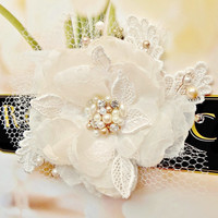 Champagne Bridal Hair Flower by FancieStrands