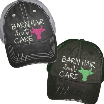 """""""Barn Hair Don't Care"""" Distressed Trucker Hat"""