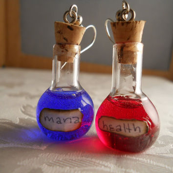 Handblown Glass Miniature Mana and Health Potion Earrings, Mix and Match