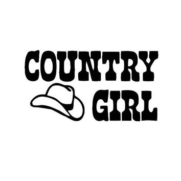 Country Girl with a Cowboy Hat 001 (decal)