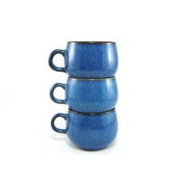 Denby Rams Head blue stoneware cups, set of 3, authentic English stoneware