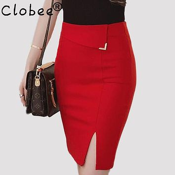 Women Fashion Skirt New 2017 Fashion Plus Size Slim Black Red Bodycon Pencil Skirt Women knee-length Skirts Casual Skirt S-5XL