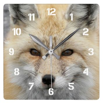 Red Fox Photo Square Wall Clock