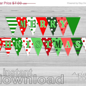 X-mas SALE 50% OFF Merry Christmas Party Banner, Polka Dot, Striped, Diy holiday pennant, red, green, printable bunting banner, ready to pri
