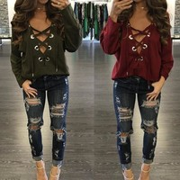 Lace-Up Front Plunge V Neck Long Sleeve Solid Loose Tops T-Shirt