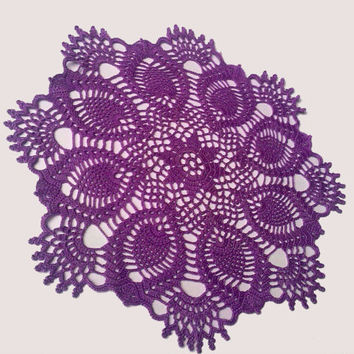 Crochet Doily, Purple, Pineapple, Lace Doily, Table Centerpiece