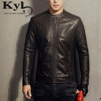2017 New PU Leather Jacket Men Blue Solid Mens Faux Fur Coats Trend Slim Fit Youth Motorcycle Suede Jacket Male BSGD963