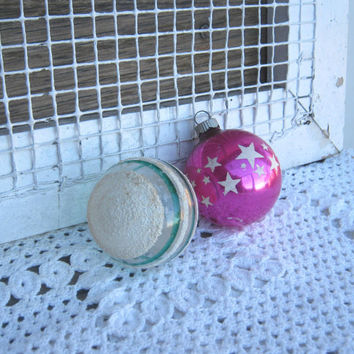 3 Shabby Glass Ball Ornaments - Star Stencil Pink Glass Ornament - Ribbed Cobalt Blue Ornament - Green Stripe Glass Unsilvered Ornament