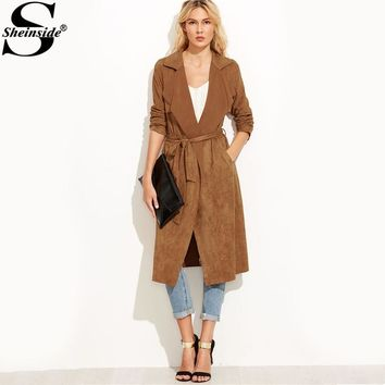 Sheinside Brown Suede Self Tie Duster Trench Coat Long Sleeve Wrap Long Outer With Belt Women Casual Winter Workwear Coat