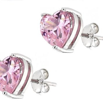 .925 Sterling Silver 7mm Heart Shape Pink Cubic Zirconia Stud Earrings