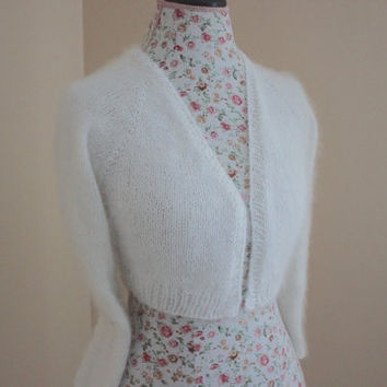 Ready to ship, Wedding Bolero 80% Angora rabbit handmade knit from Filati Biagioli Modesto Italy / v-neck No buttons Long sleeve Cropped