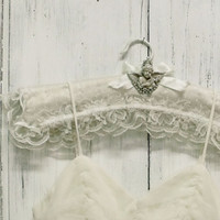 Vintage lace Cherub rhinestones hanger shabby chic decorative bride hanger french chic White satin hanger