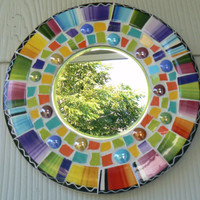 Purple, Yellow, Blue Red, Green Round China Mosaic Mirror- Pique Assiette